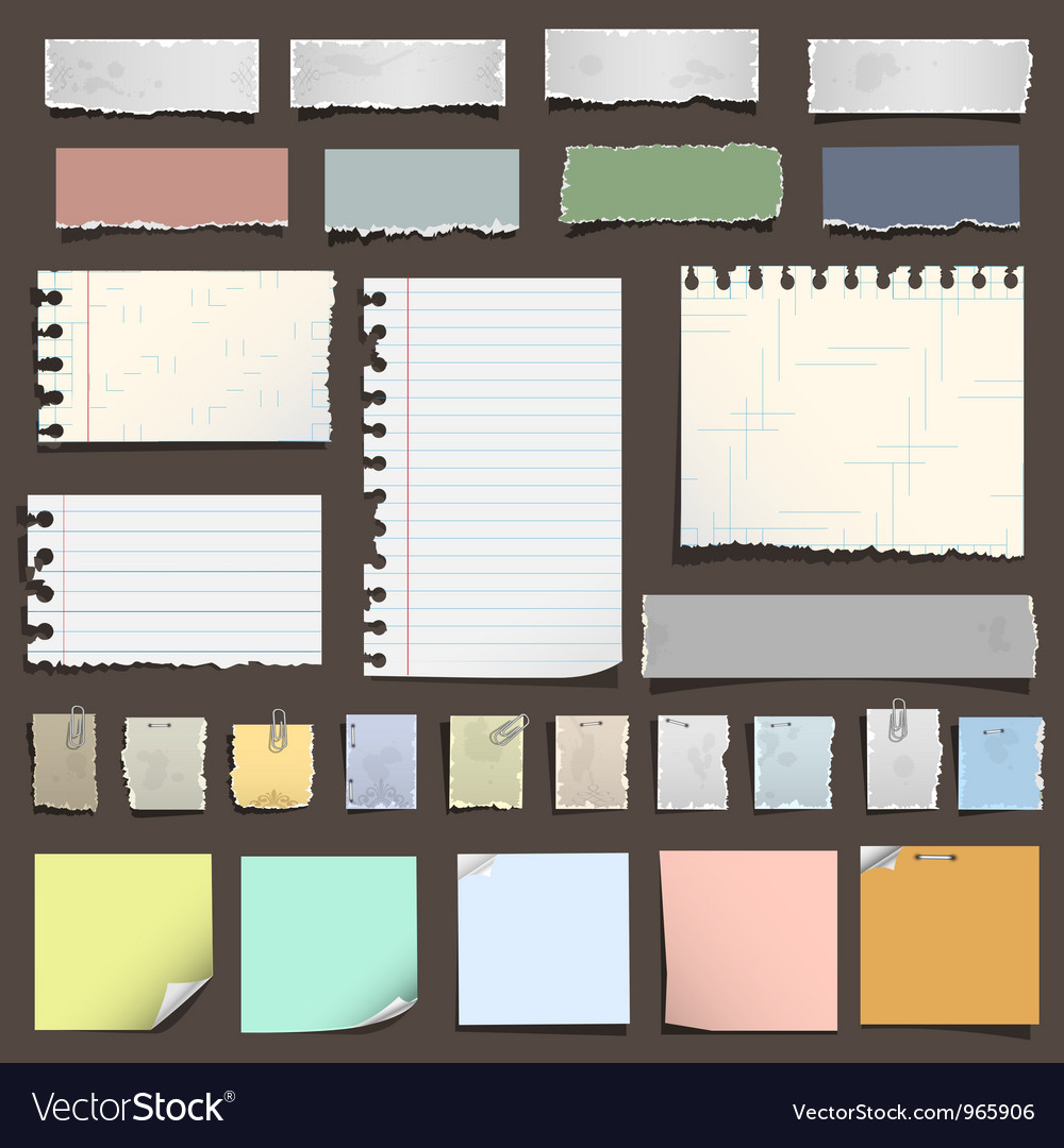 Various notes paper vector