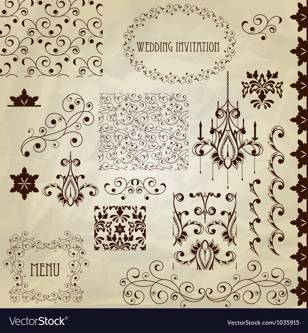 Set vintage design elements vector