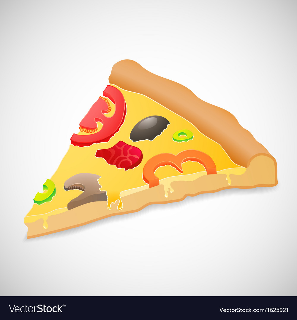 Big piece pizza isolated over white background vector