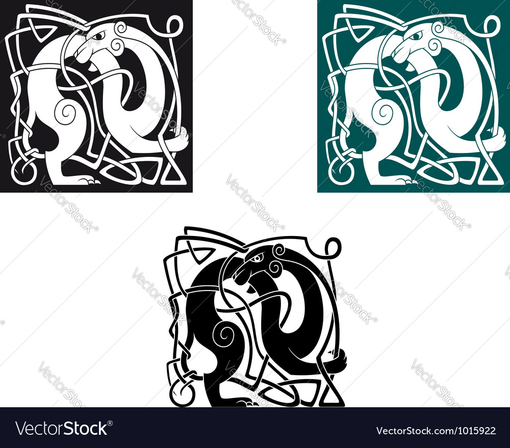 Celtic dogs with ornament and decorative elements vector