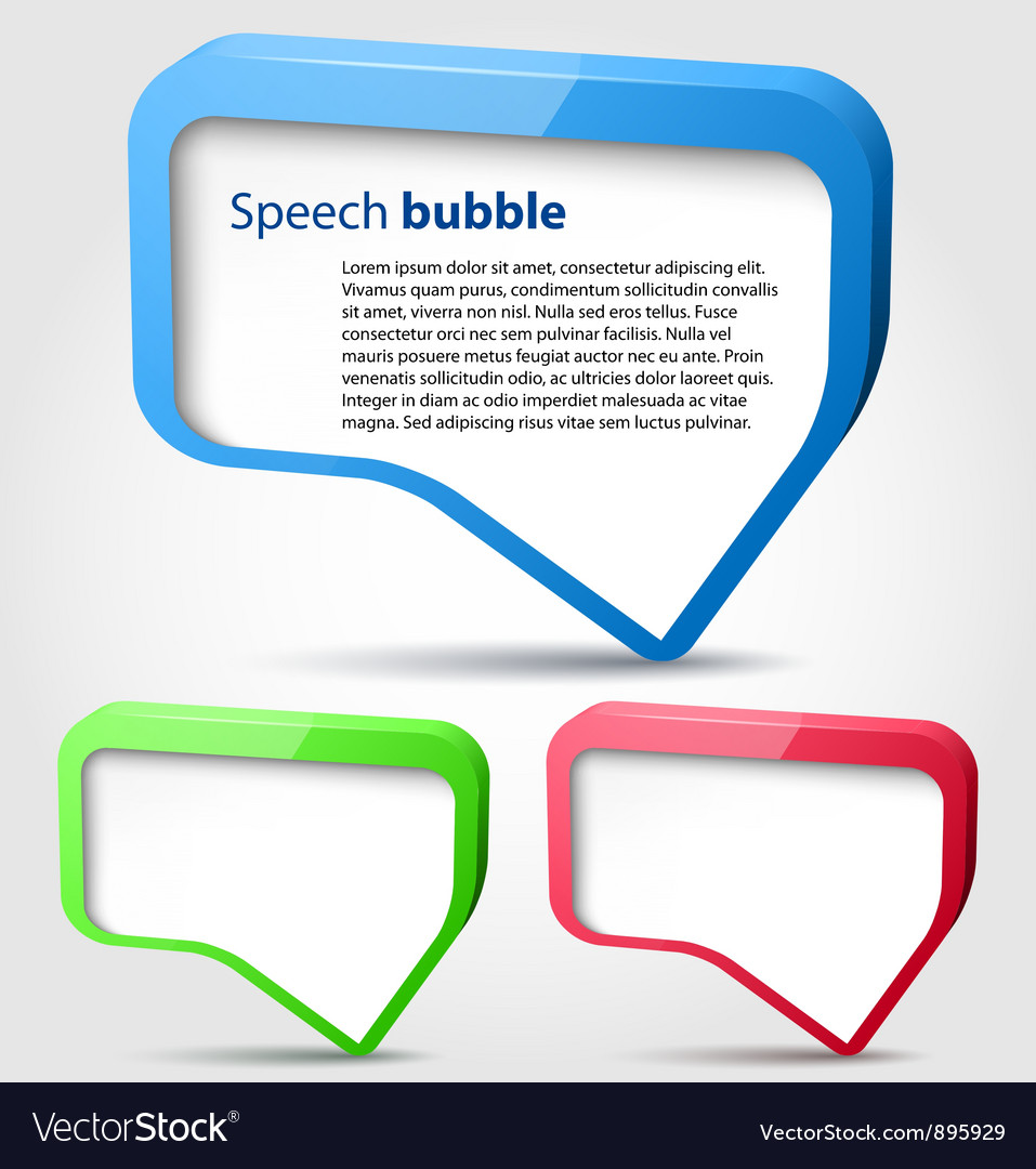 Colorful 3d bubble speech vector