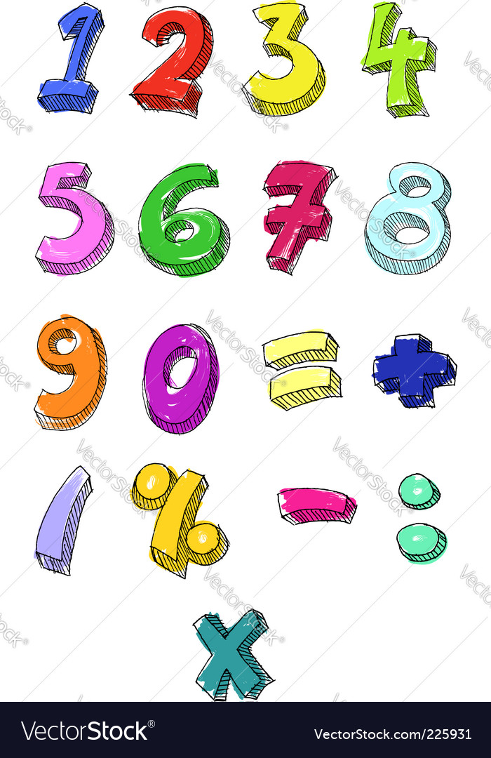 Numbers hand written vector
