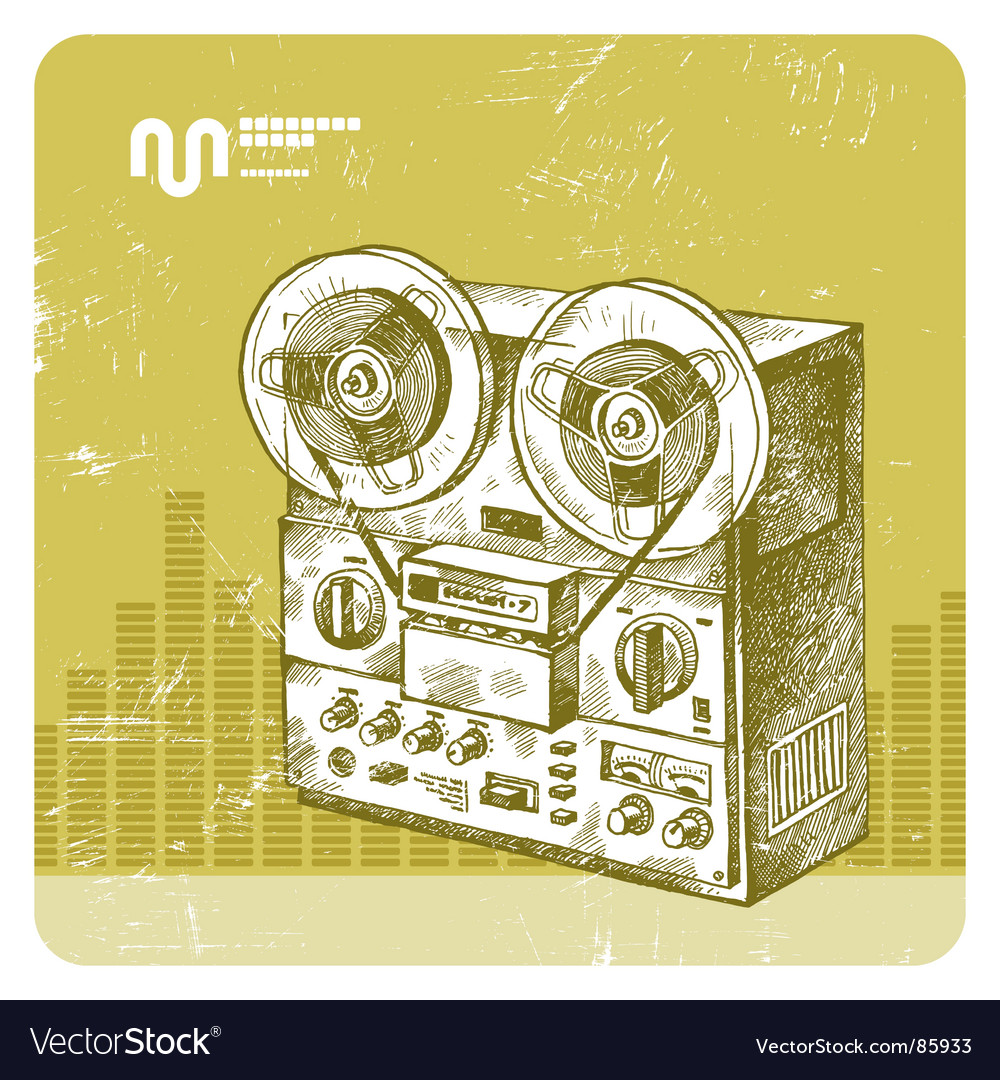 Hand drawn reel recorder vector