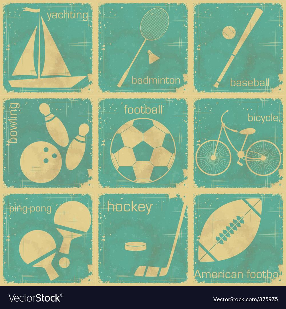 Set of vintage sport separate labels vector