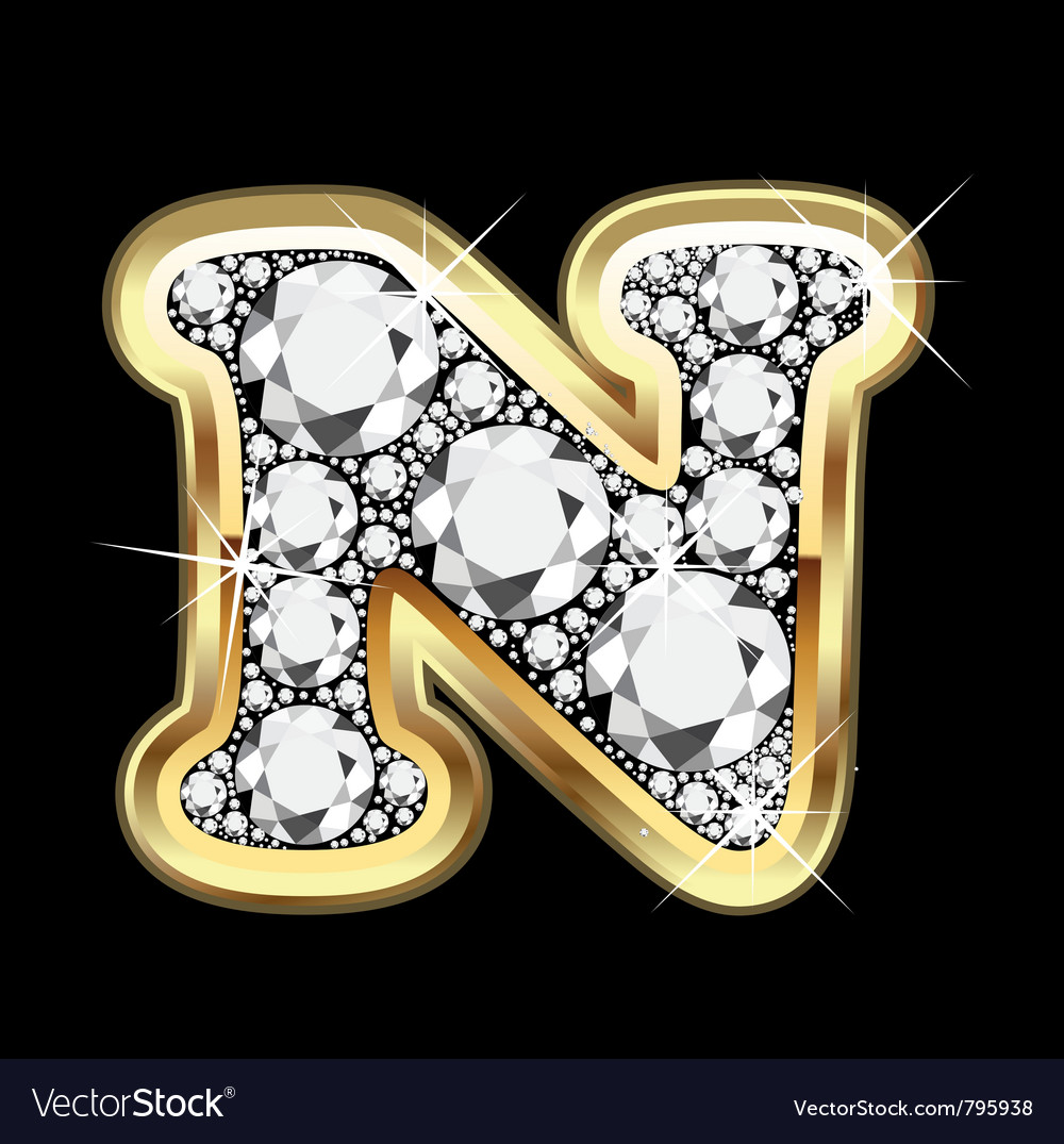 U Alphabet In Diamond Letter In Gold Letter n gold and diamond