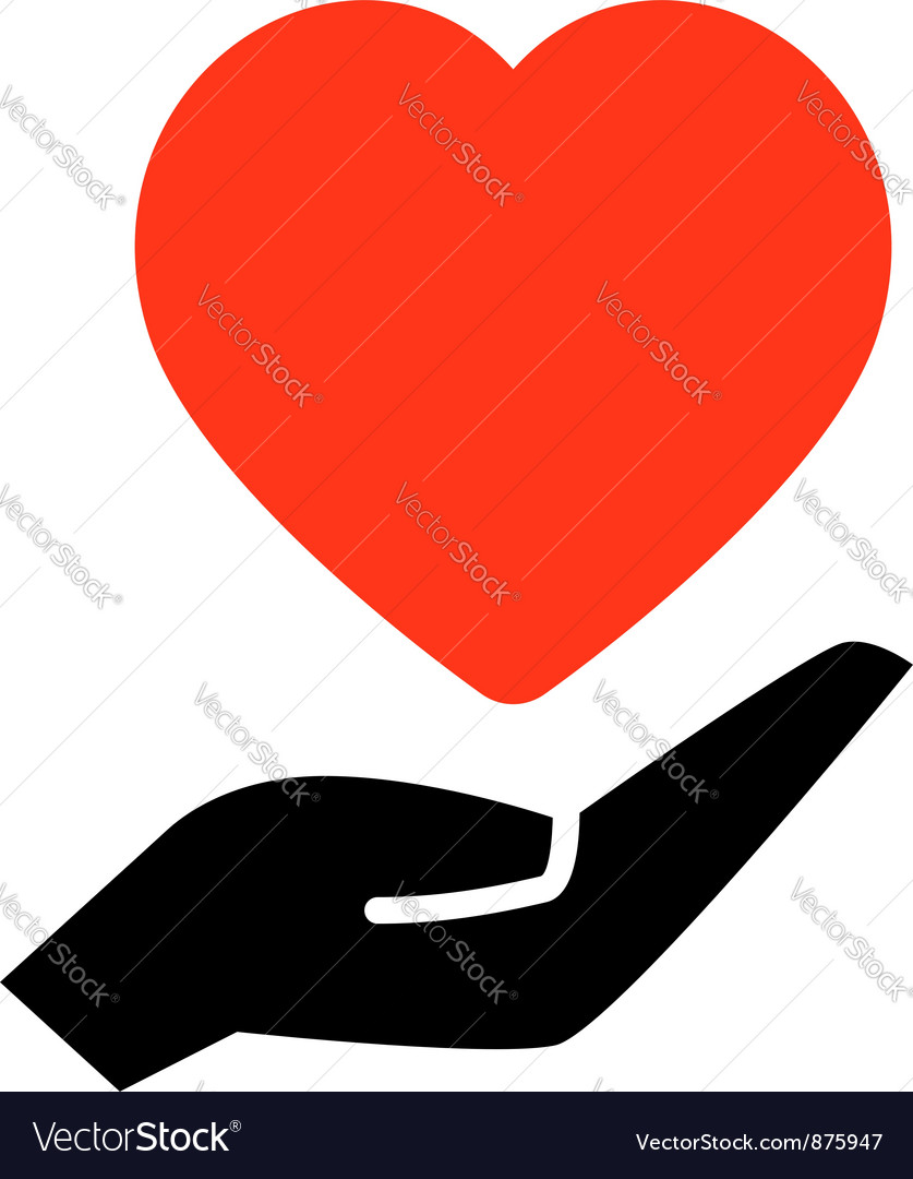 Red heart on hand vector