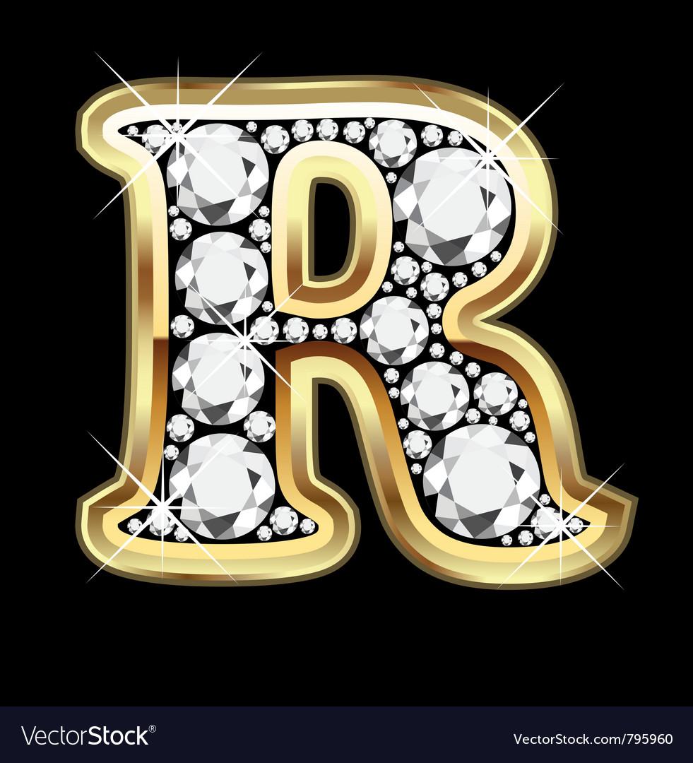 r alphabet in diamond  Letter r gold and diamond