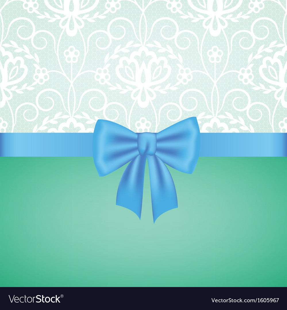 White guipure border with blue ribbon bow vector