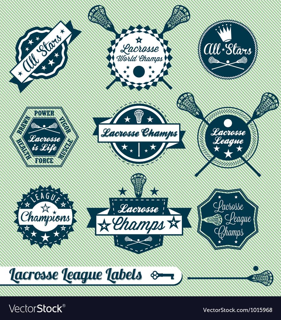 Vintage lacrosse labels vector