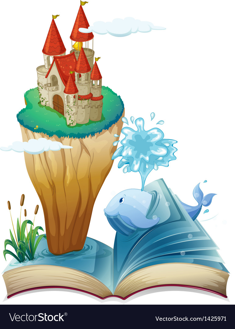 A book with a dolphin and an island with a castle vector