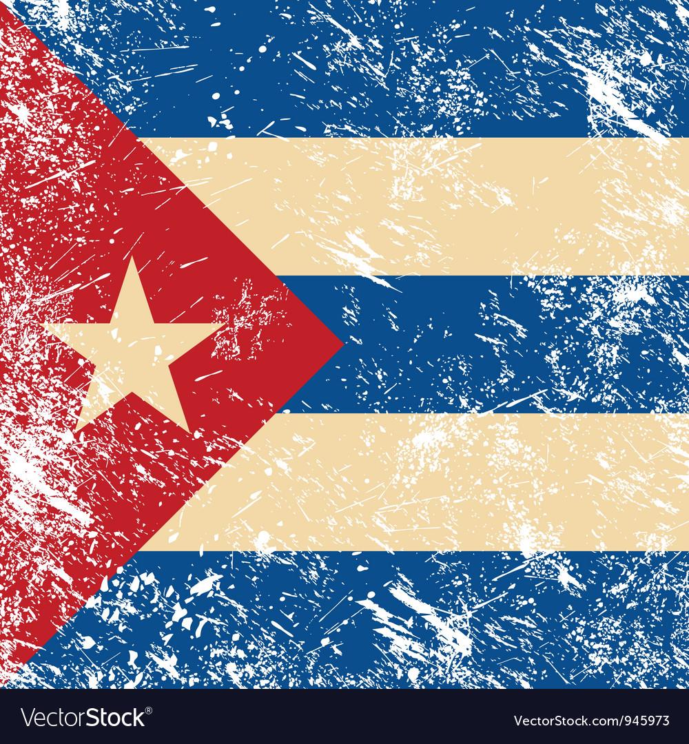 Cuba retro flag vector