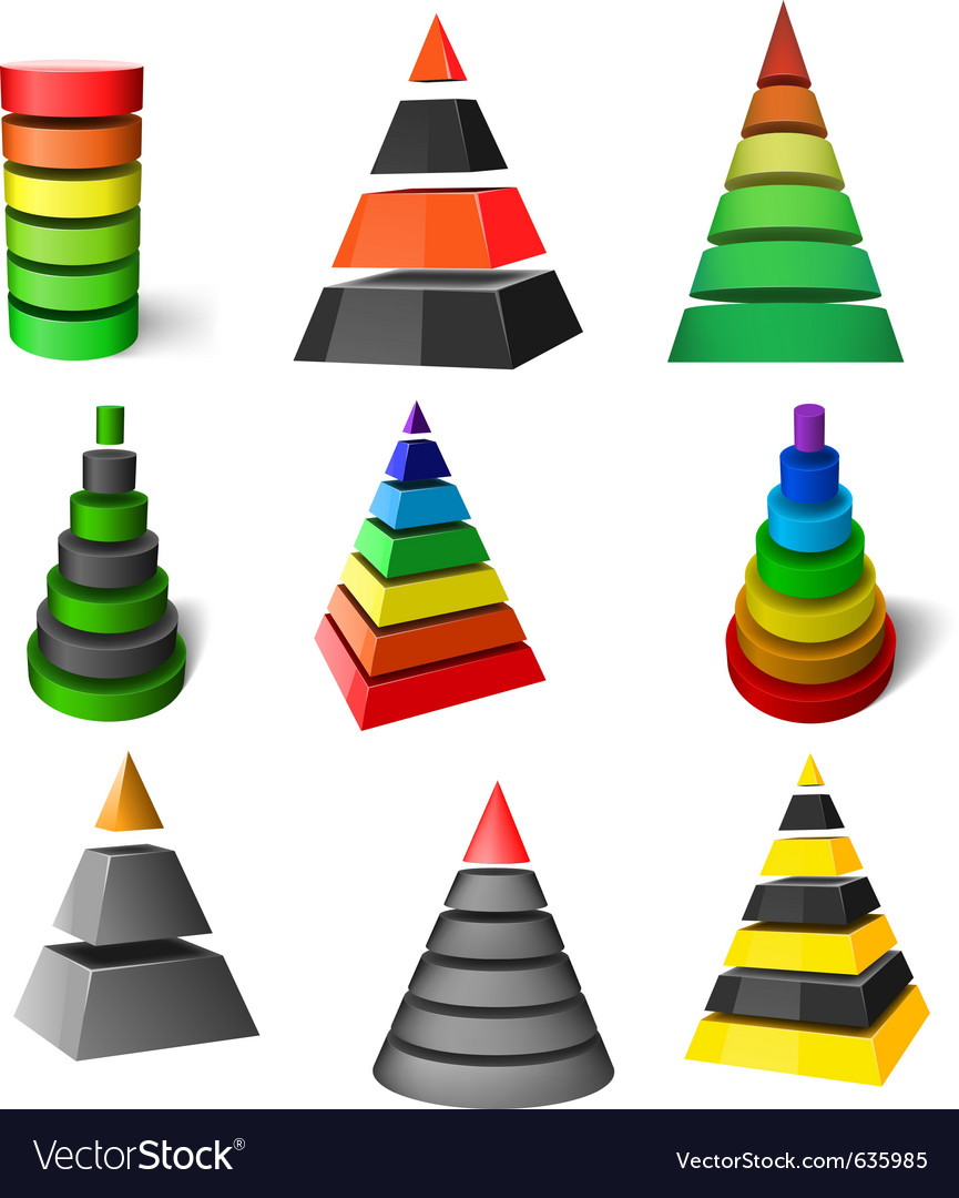 Set of pyramids vector