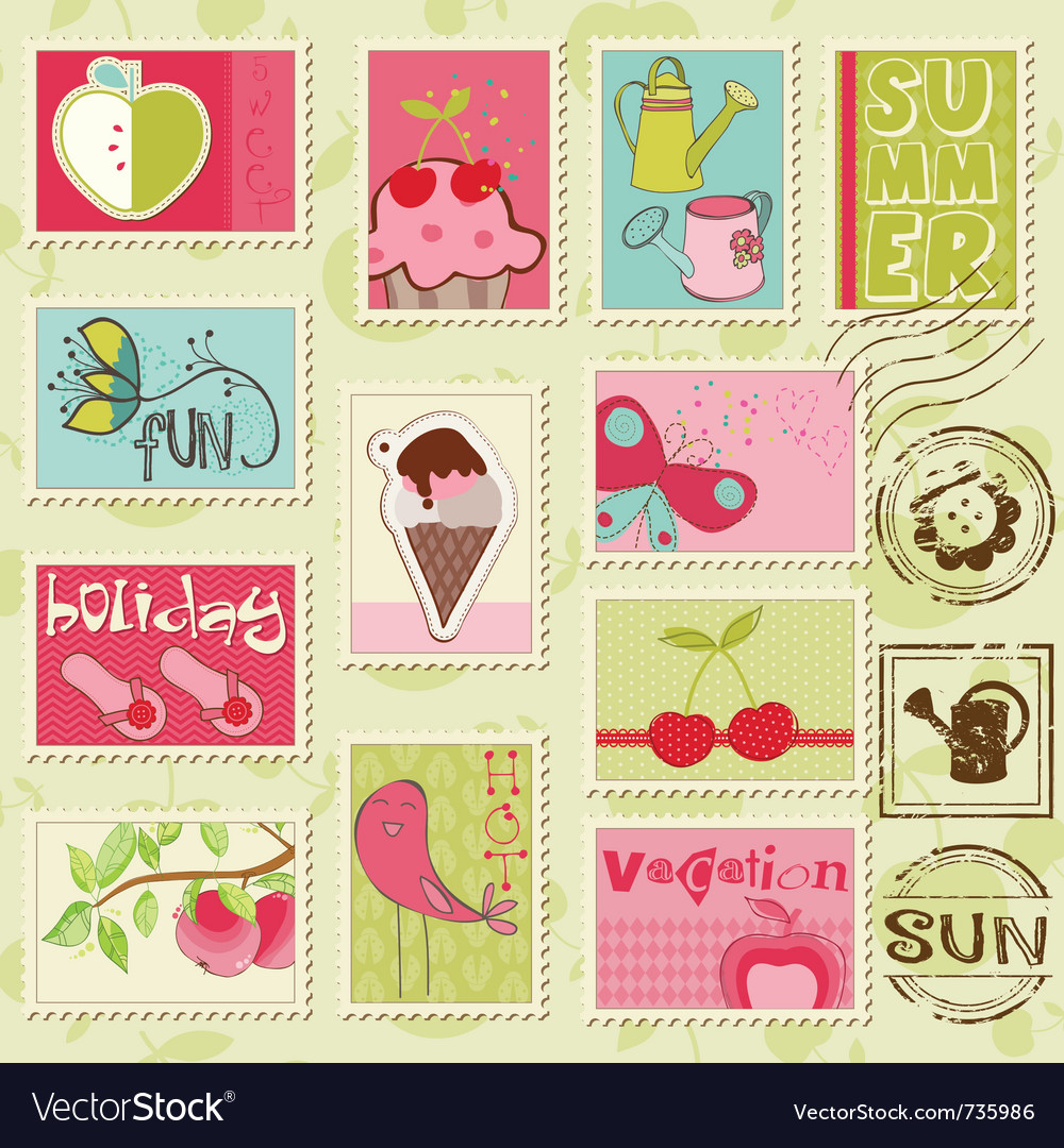 Summer stamps  set of beautiful summerrelated ru vector