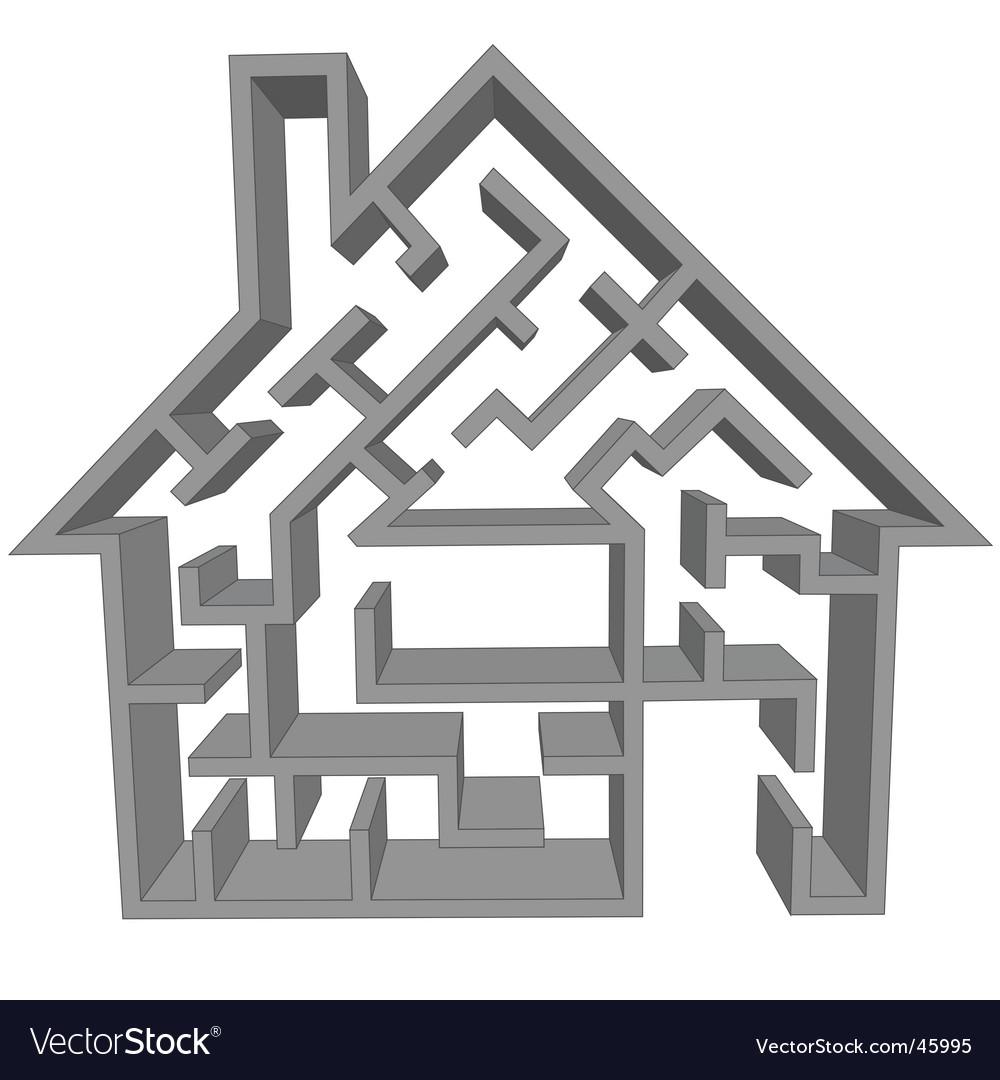 Maze house vector