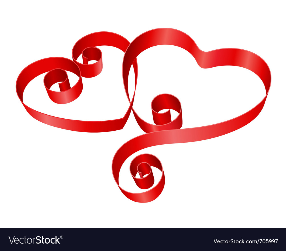 Two red hearts from ribbon vector