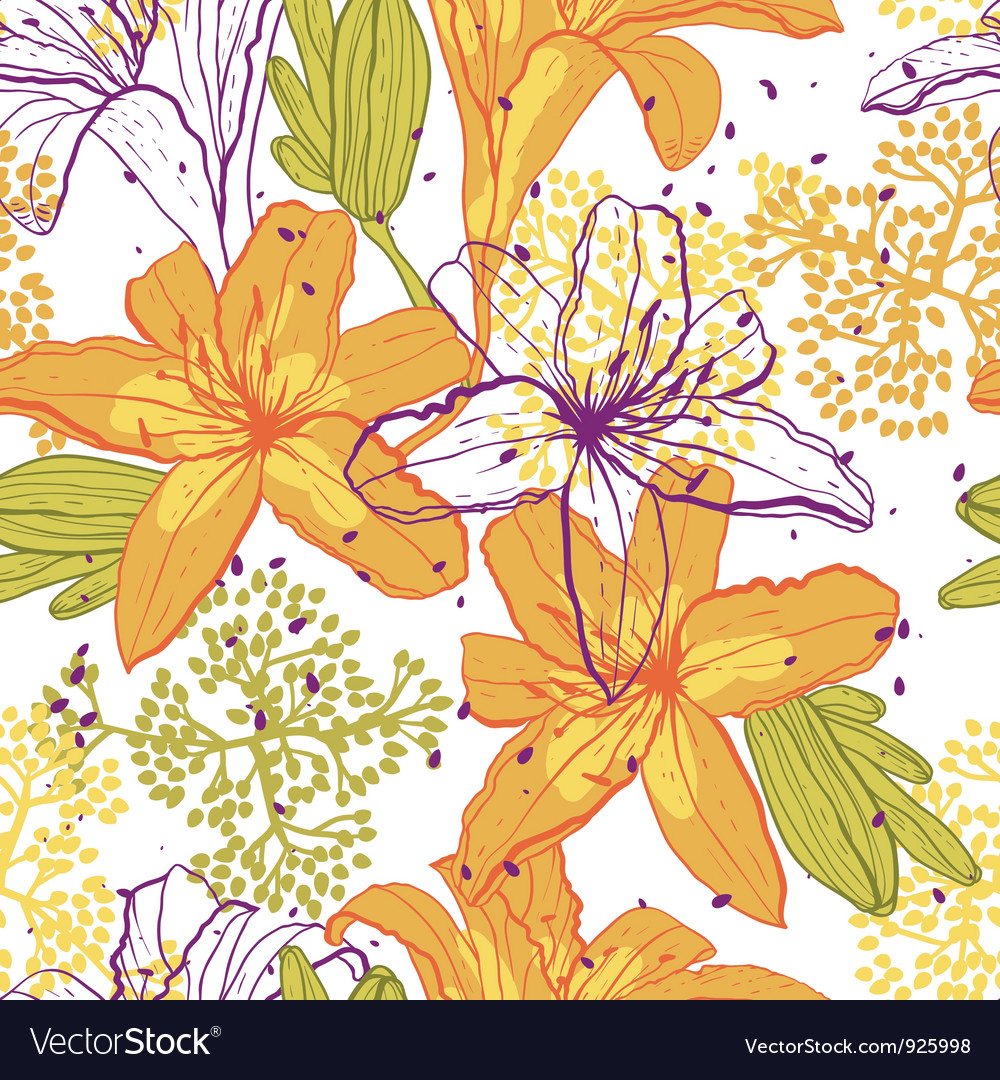 Beautiful seamless pattern with lilies vector