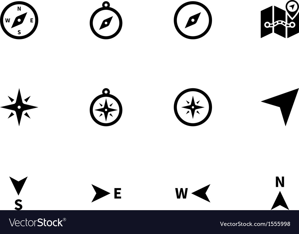 Compass icons on white background vector