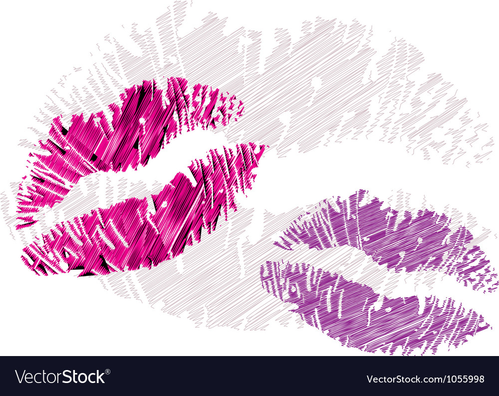 Lipstick kisses vector