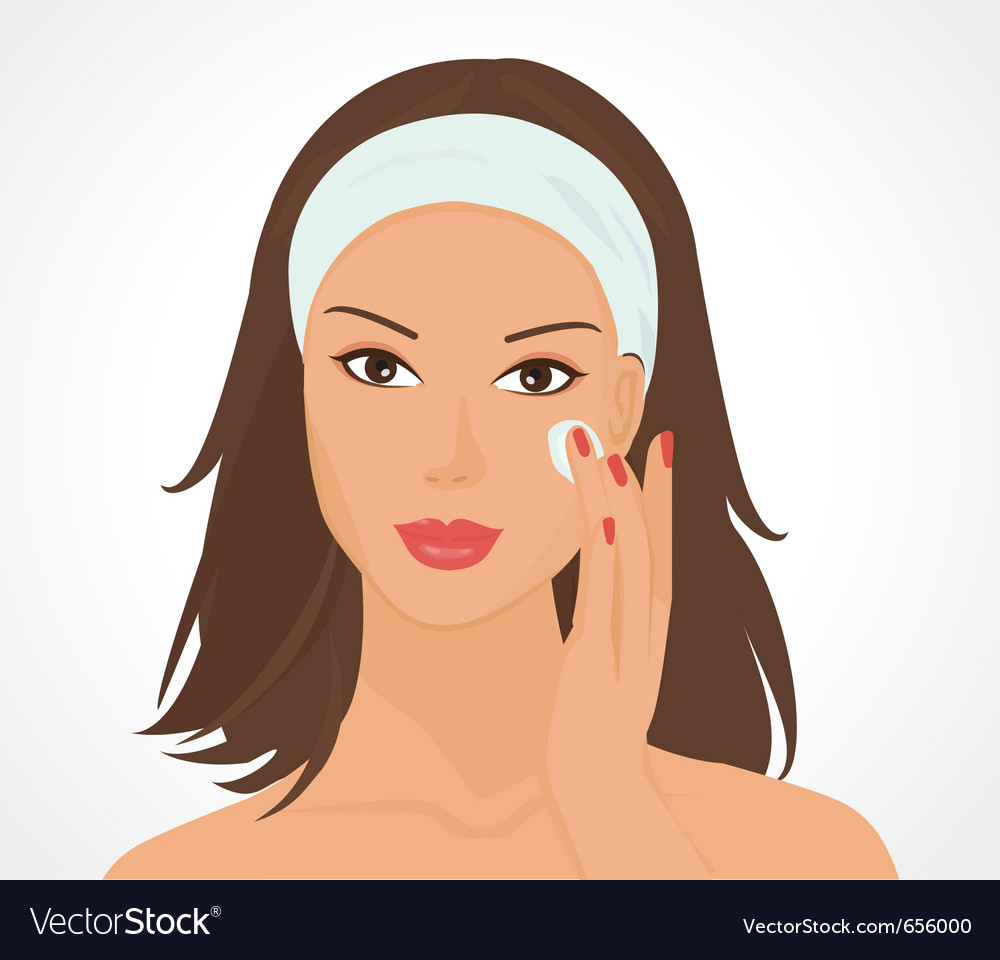Girl applies make up vector
