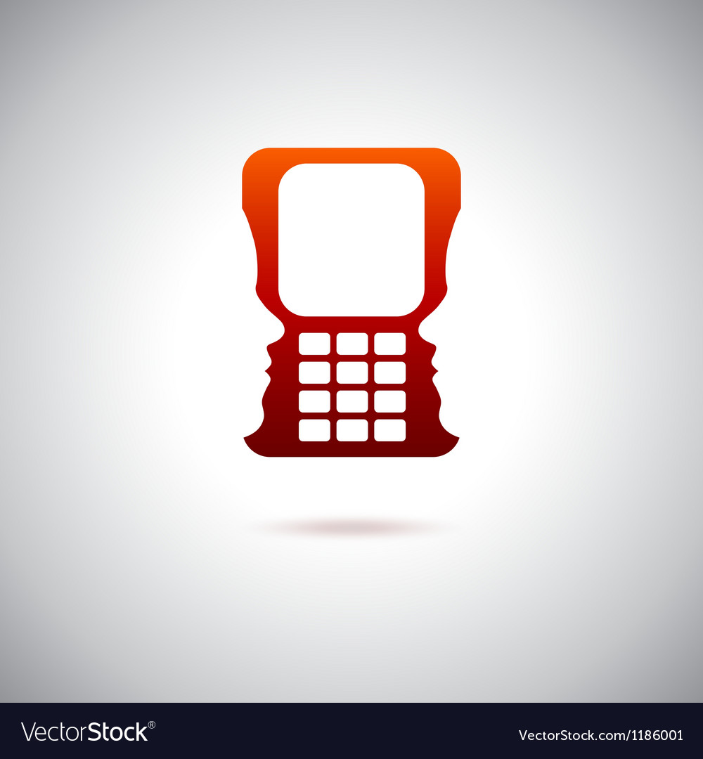Cell phone and technology over red vector