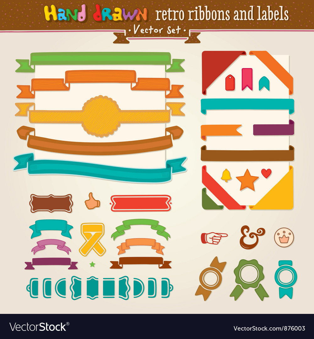 Hand draw set of retro ribbons vector