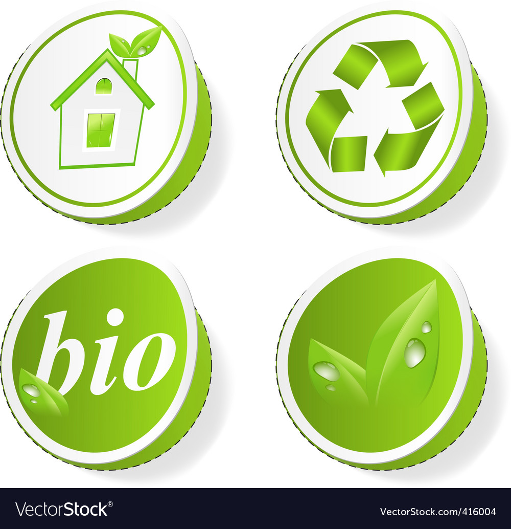 Set of green ecology tags vector