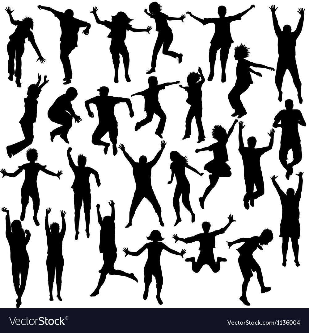 Set of jumping children shilhouettes vector