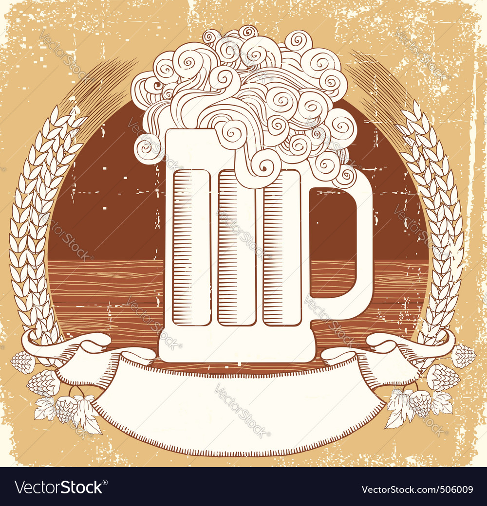 Beer symbol vintage graphic illustration of vector