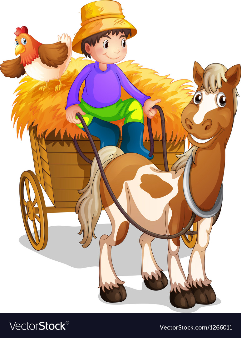 A farmer riding in his wooden cart with a horse vector