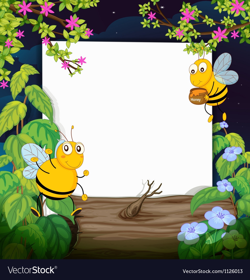 Honey bees and a white board vector