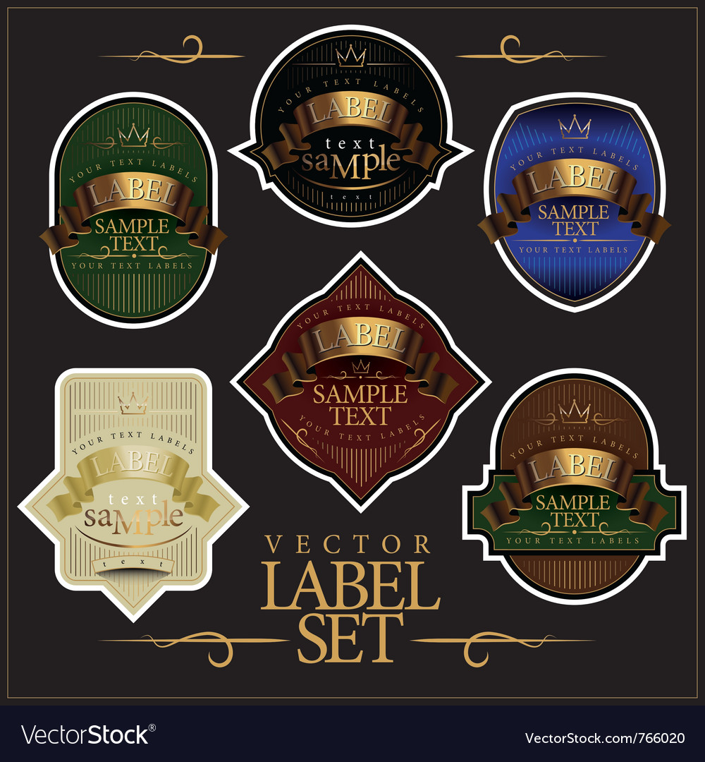 Detailed ornate various color label set vector
