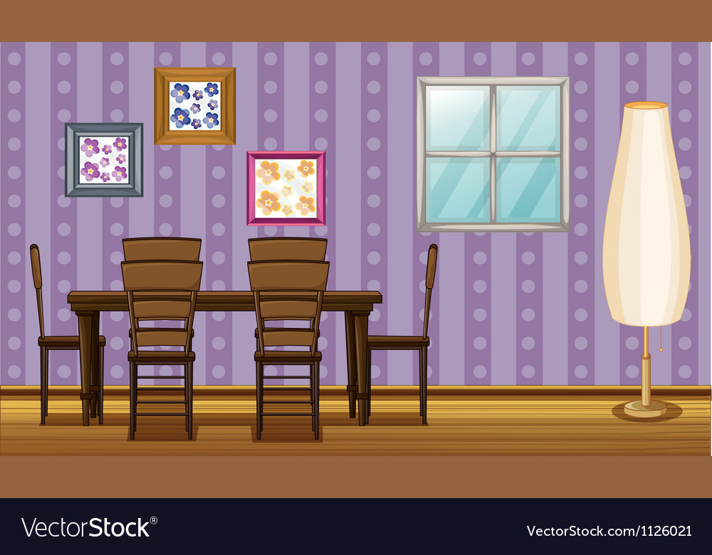A dinning table and a lamp vector