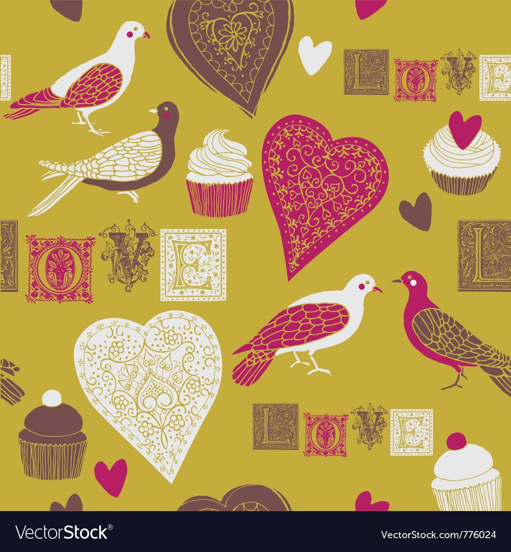 Vintage love print vector