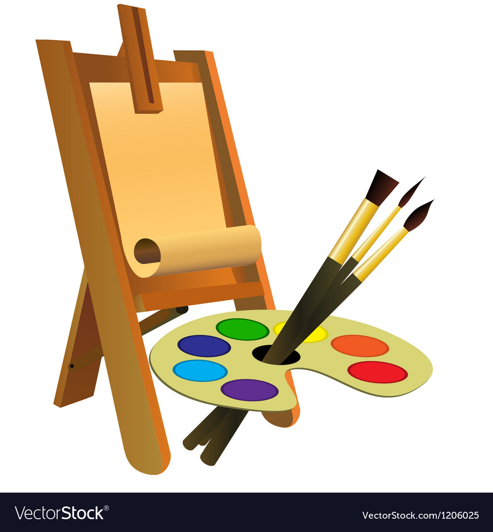 Easel palette and brushes vector
