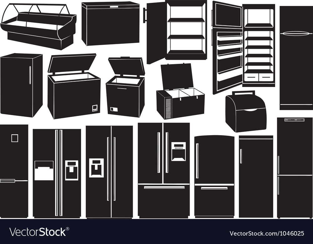 Set of different refrigerators vector