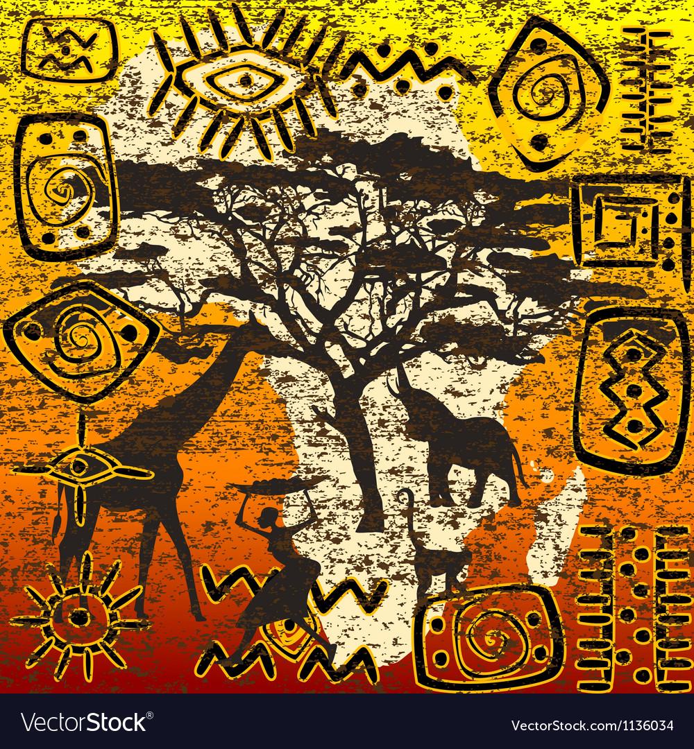 African symbols set vector