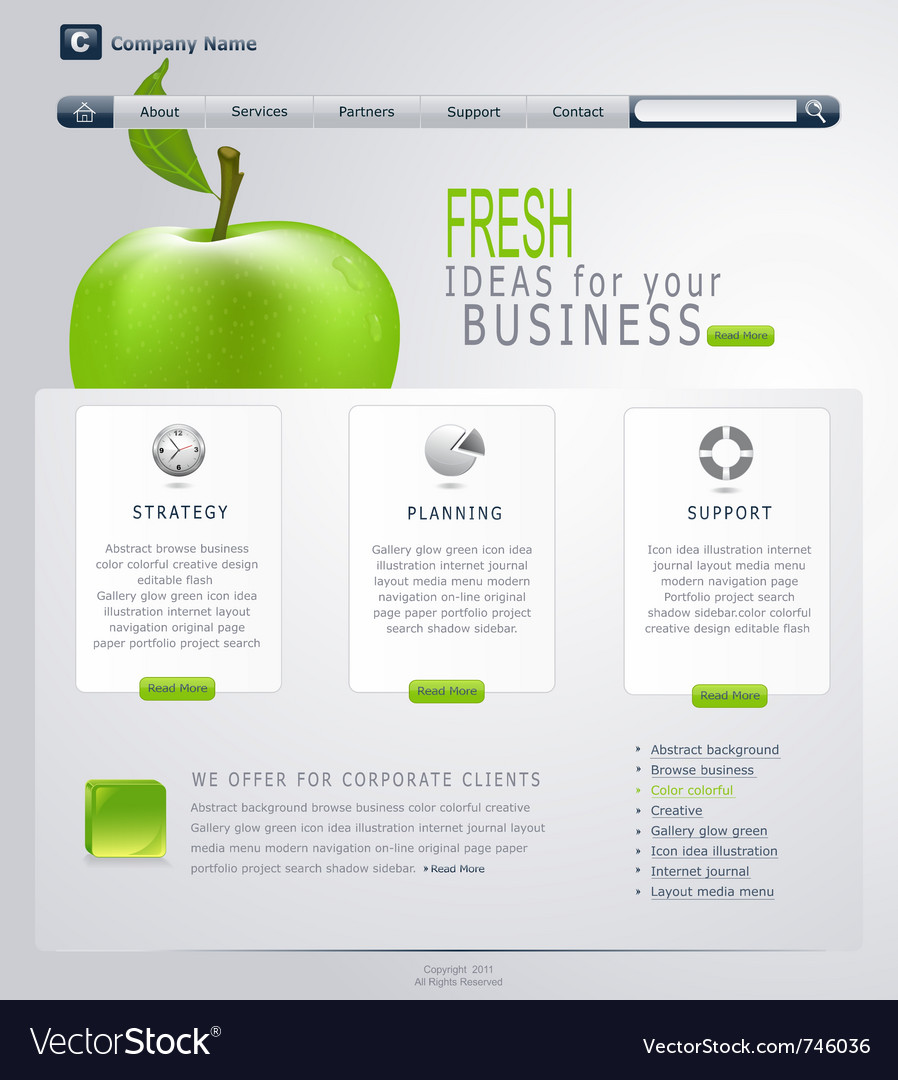 Grey-green website with apple vector