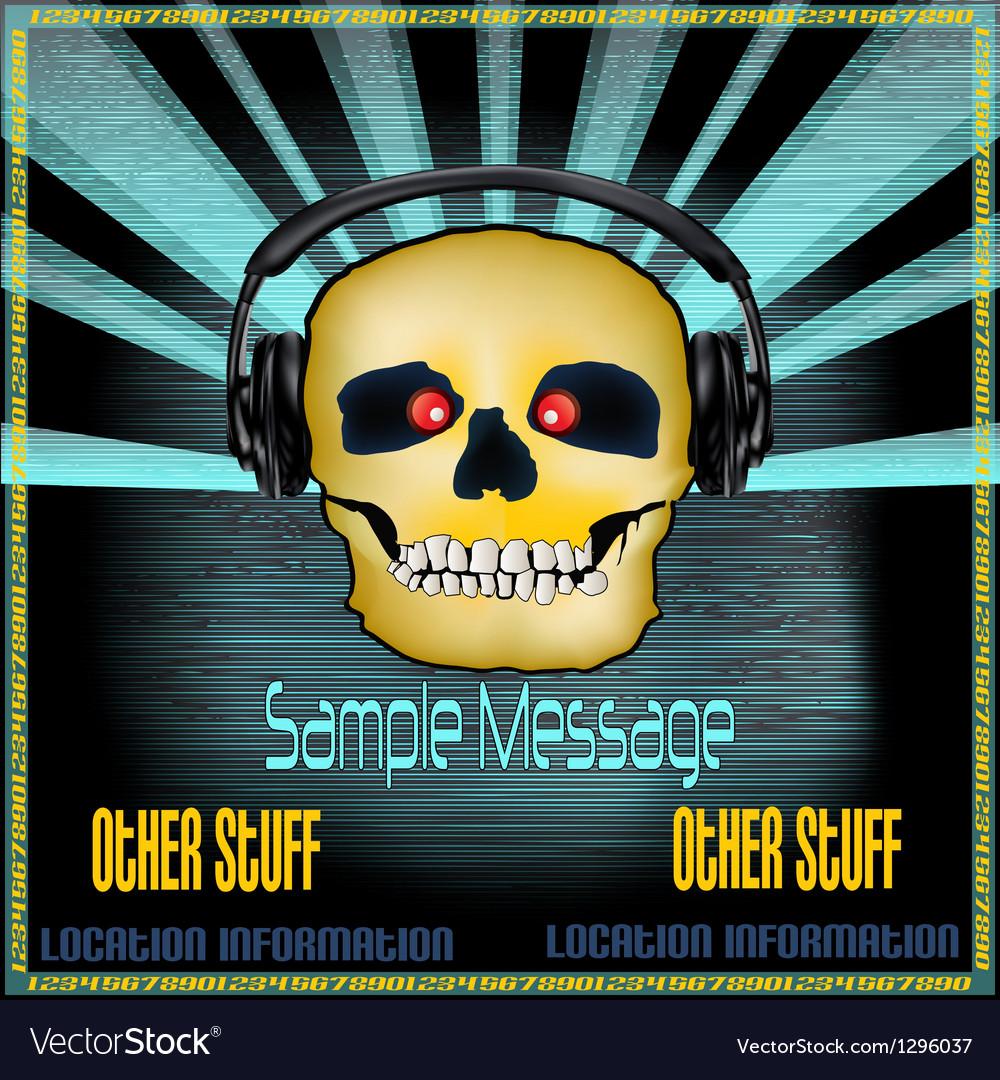 Dj skull poster vector