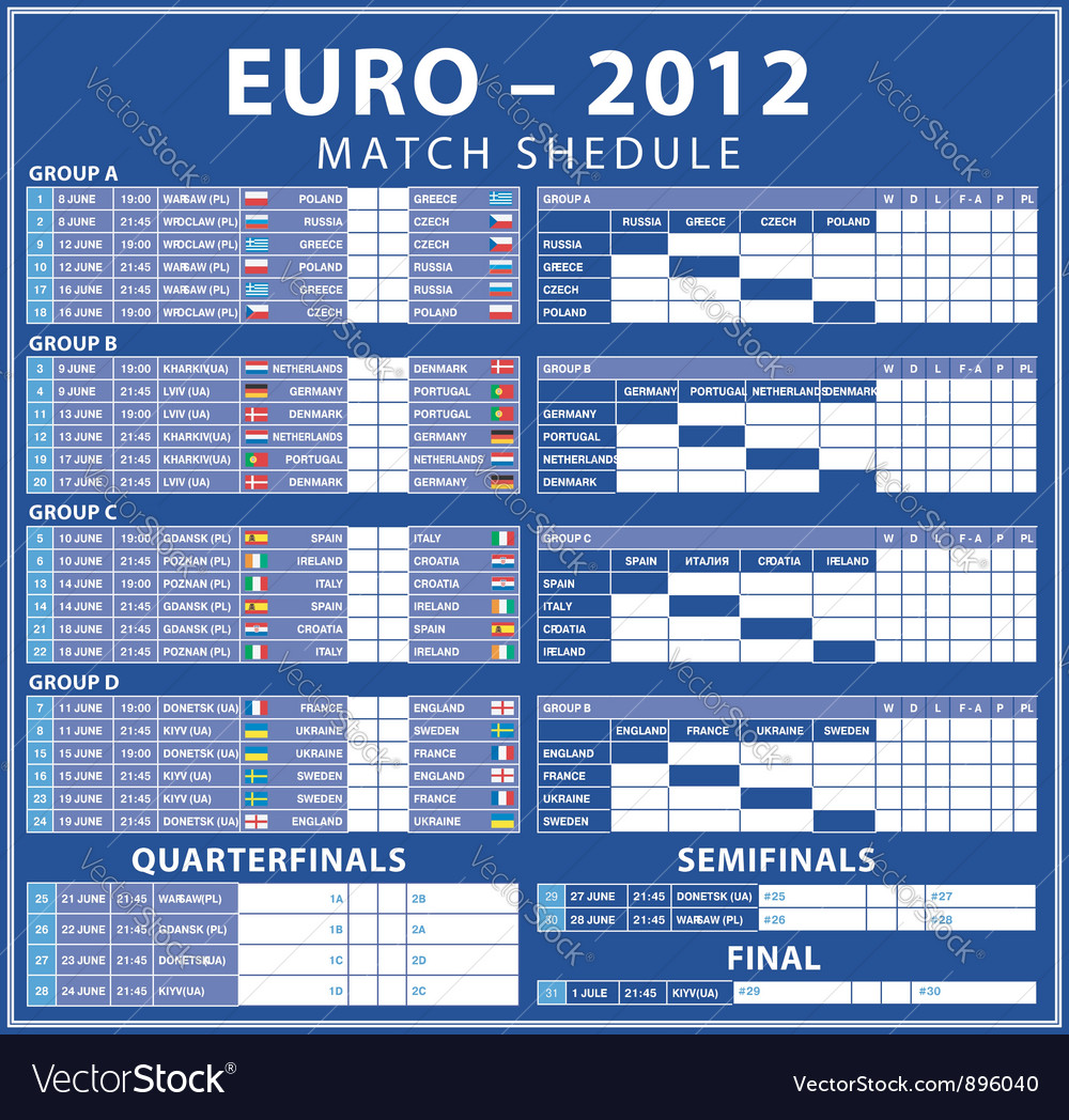 Euro 2012 matches vector
