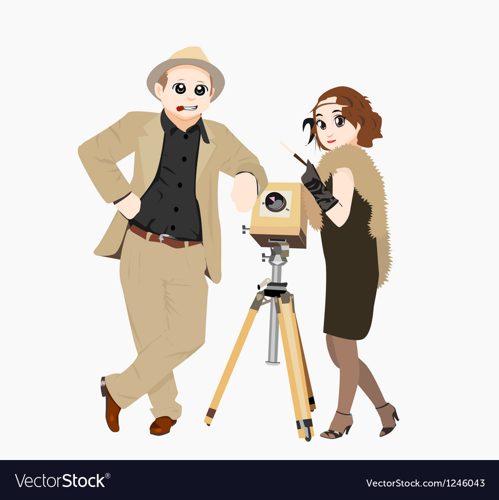Retro portrait with a camera vector