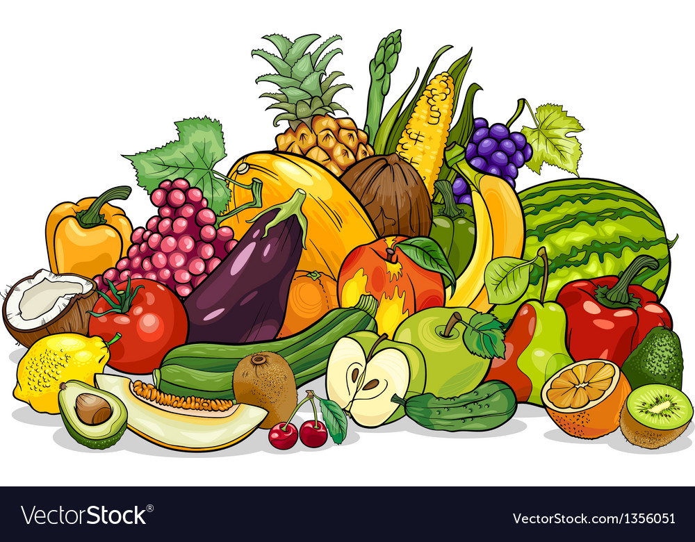 Fruits and vegetables group cartoon vector