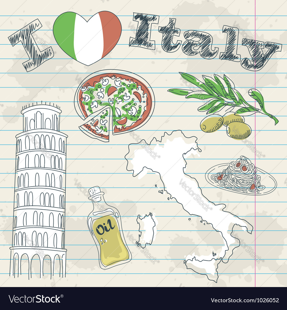 Italy travel grunge card vector
