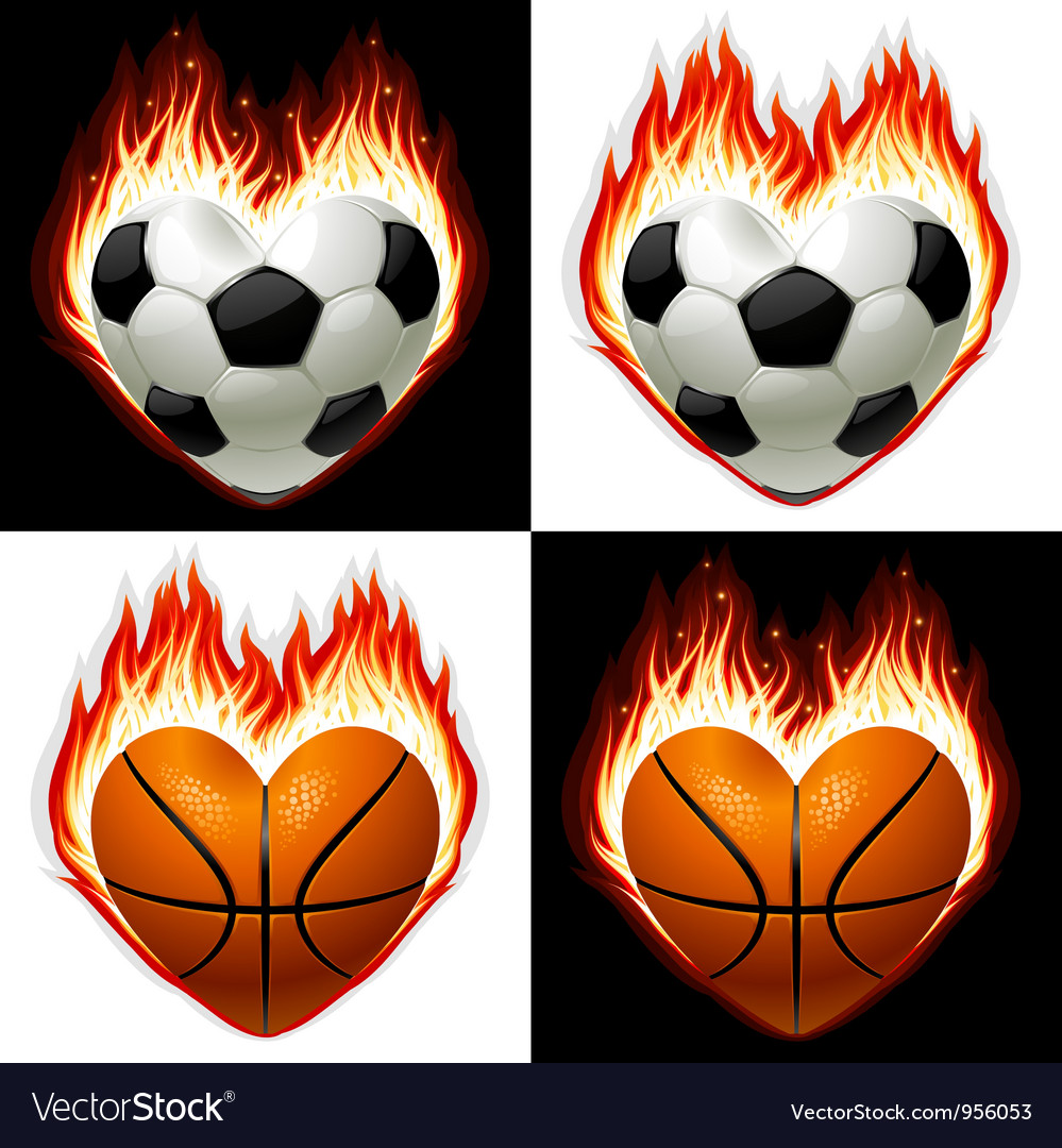 Football basketball ball on fire vector