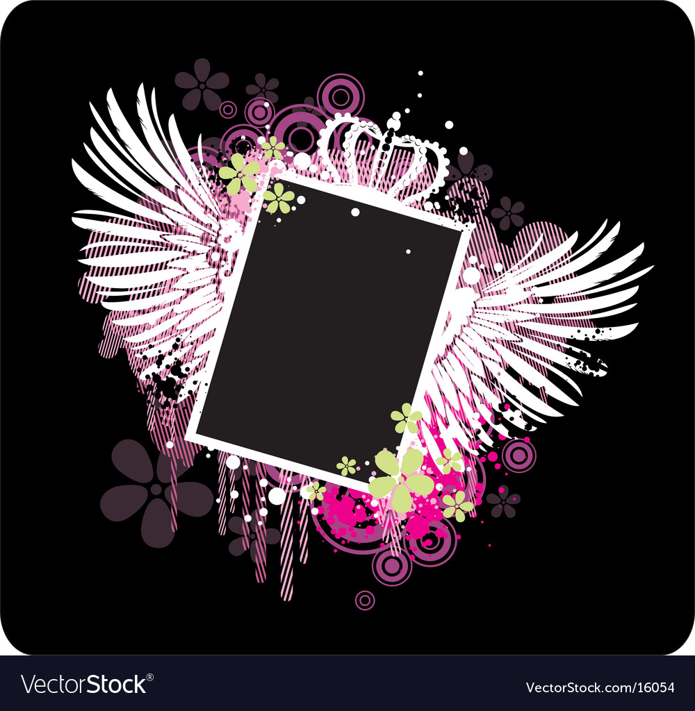 Frame with wings vector