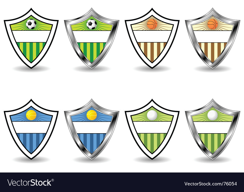 Sport shields set vector