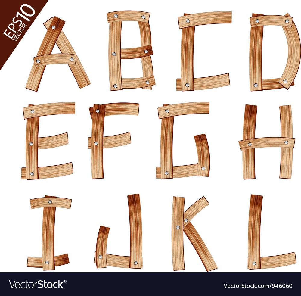 Old grunge wooden alphabet vector