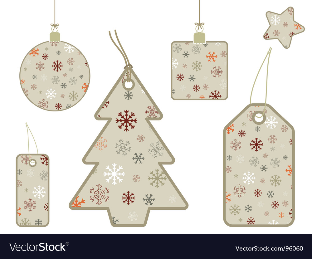 Snowflake gift tags vector