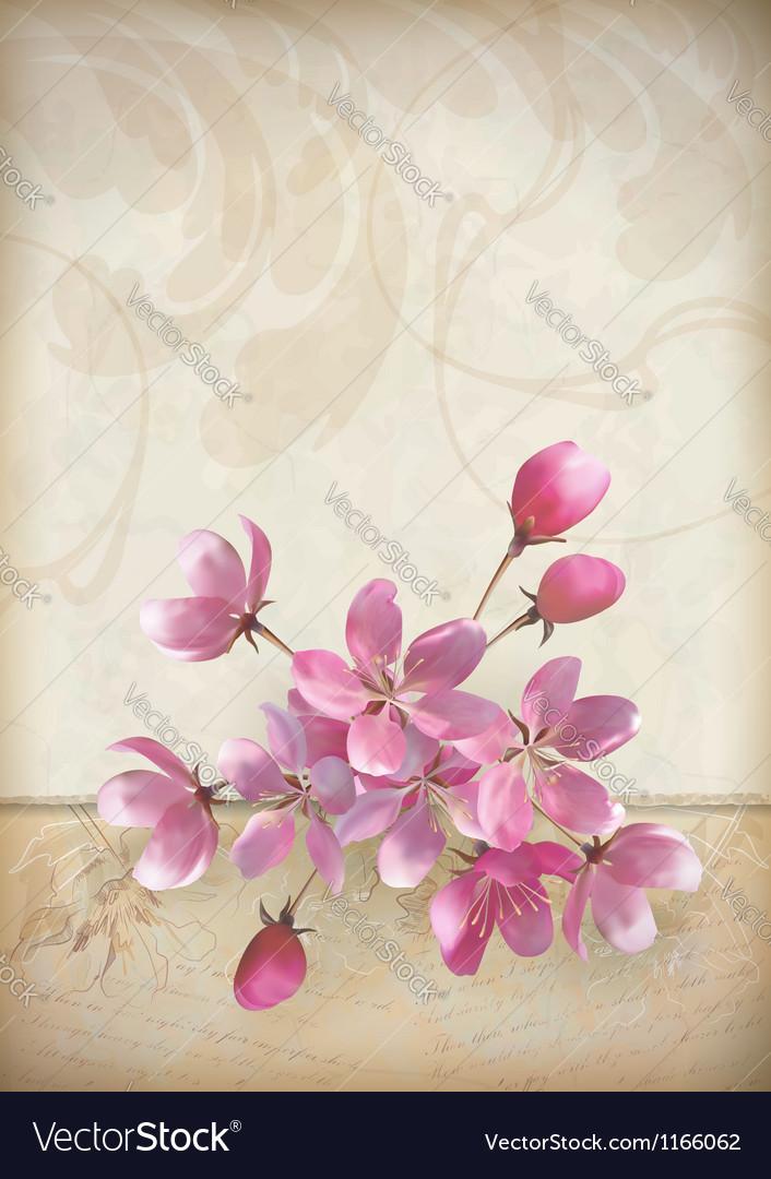 Realistic cherry blossom flower arrangement vector