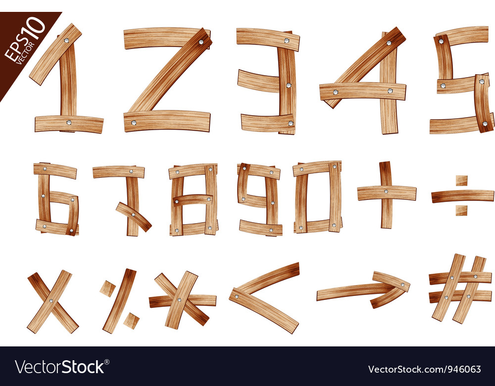 Old grunge wooden alphabet number vector