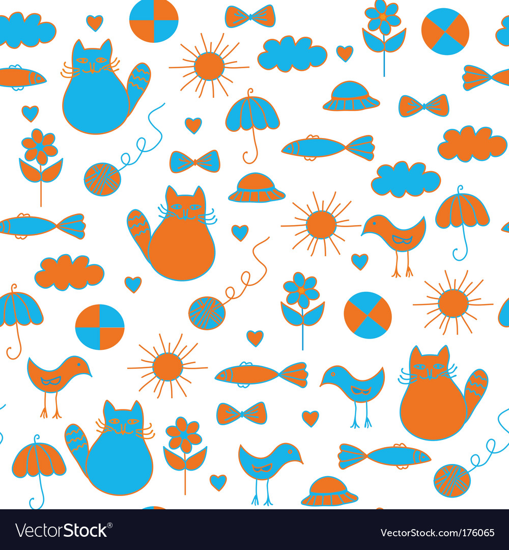 Cute childish doodle pattern pattern vector